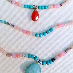 """Three Strand Turquoise Boho Necklace 18"""""""